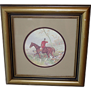"""Vintage 13.5"""" Polo Horse Print in Wood Frame by Transart Industries GA"""