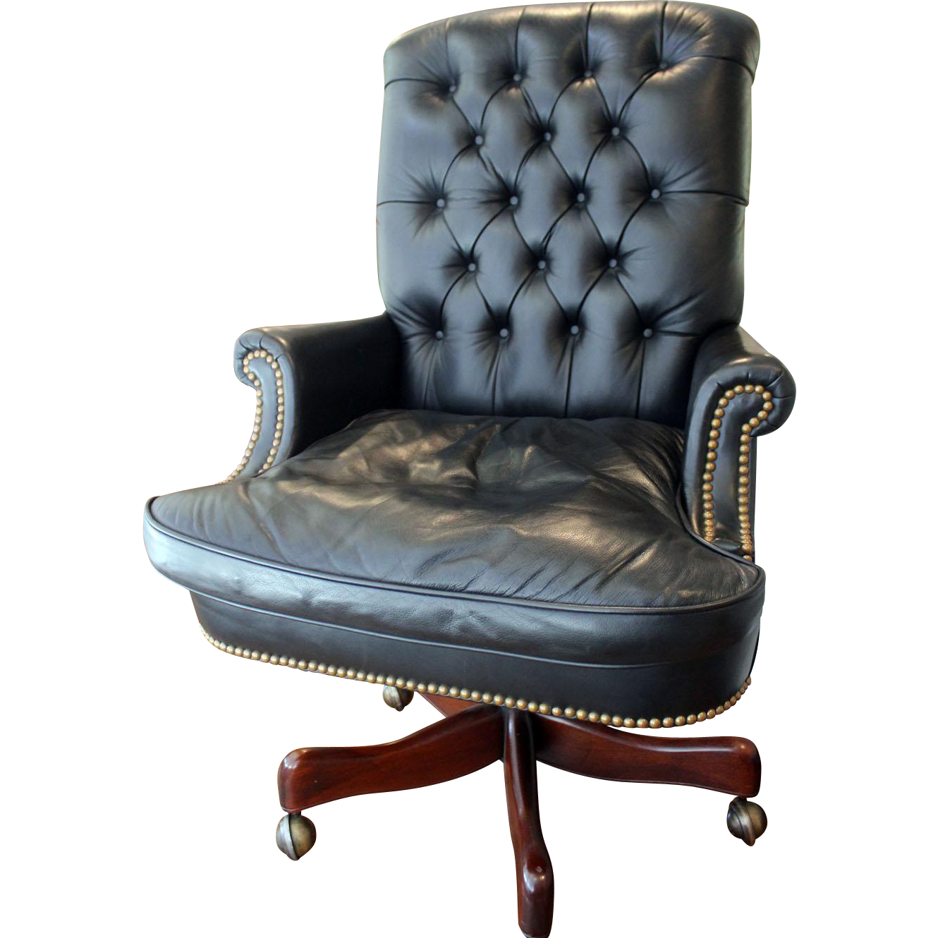Vintage leather swivel chair - Hickory Leather Tufted Executive Swivel Chair