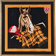 Stunning LARGE Vintage Horse Themed Silk Scarf Print Custom Framed