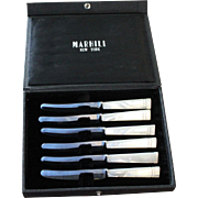 Set of 6 Marhill New York Mother of Pearl Butter Knives