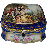 Signed French Sevres Porcelain Box with Courting Scene