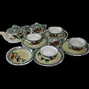 Vintage Japan Miniature Lusterware Tea Set with Birds