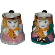 Vintage Pair of Miniature Toby Mugs w/ Gold