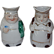 Vintage Pair of Miniature Baker Toby Mugs