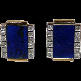 Vintage Diamond Lapis 18K Gold Cufflinks