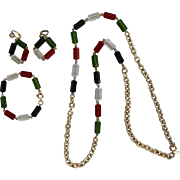 Vintage Sarah Coventry Multi-Colored Lucite and Gold Tone Necklace, Earring and Bracelet Set