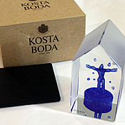 Kosta Boda Viewpoints On Top Sculpture by Bertil Vallien W/ Box and Base 99518