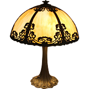 Art Nouveau 6 Panel Slag Glass Lamp