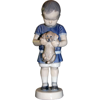 Bing & Grondahl Porcelain Figurine of a Boy and Dog 1747