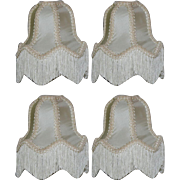 "Set of 4 Vintage Victorian Style 6 1/2"" Silk Lamp or Chandelier Shades W/ Fringes"