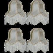 "Set of 4 Vintage Victorian Style 6 1/2"" Silk Lamp or Chandelier W/ Fringes"