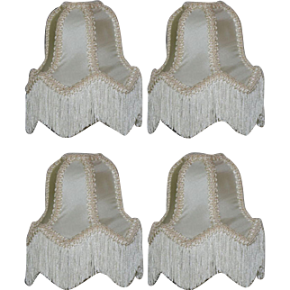 "Set of 4 Vintage Victorian Style 6 1/2"" Silk Lamp or Chandelier W/ Fringes"