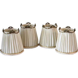 4 Vintage French Pleated Silk Lamp or Chandelier Shades with Metal Ribbon Details