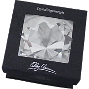 NEVER USED Oleg Cassini Signed Faceted Crystal Clear Vintage Diamond Paperweight in Box