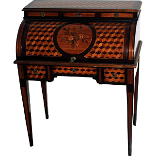 Louis XVI Style Mahogany and Fruitwood Floral Marquetry and Parquetry Bureau a Cylindre