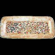 Vintage Hand Painted Italian Ceramic 13-inch Rectangular Tray Handmade in Gubbio Italy