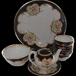 Vintage Porcelain Tea Pot, Plates and bowls w/ Cobalt Blue