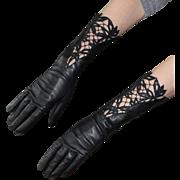 Vintage Black Embroidered Floral Cut Out Kid Skin Leather Gloves