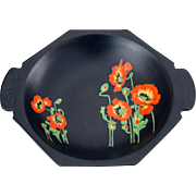 RARE 1930s Decorative Bowl by Royal Winton Grimwades Orange Poppies on Black Background
