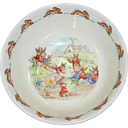 Royal Doulton Beatrix Potter Bunnykins Seesaw Playground Cereal or Soup Bowl 1959-1975