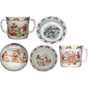 5 Piece Royal Doulton Bunnykins Set - Soup Bowl, Bank, 2 handled Mug ,Porridge Bowl and Cup