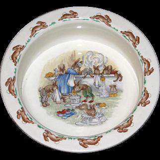 Royal Doulton Cream Bunnykins Porridge Bowl Bunnies Washing Up