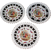Antique Retriculated German Porcelain Plates Courting Scene Set of 3
