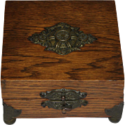 Vintage Oak Wood Dresser Box with Hasp Clasp and Ornate Brass Mount