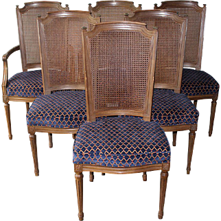 6 Vintage Henredon French Regency Dining Room Chairs