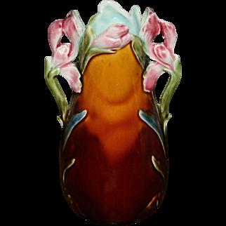 Art Nouveau Majolica Vase w/ Floral Motif