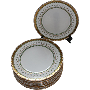 "Antique Set of 11 Minton for Davis Collamore 10 1/2"" Dinner Plates w/ Gold Encrusted Trim"