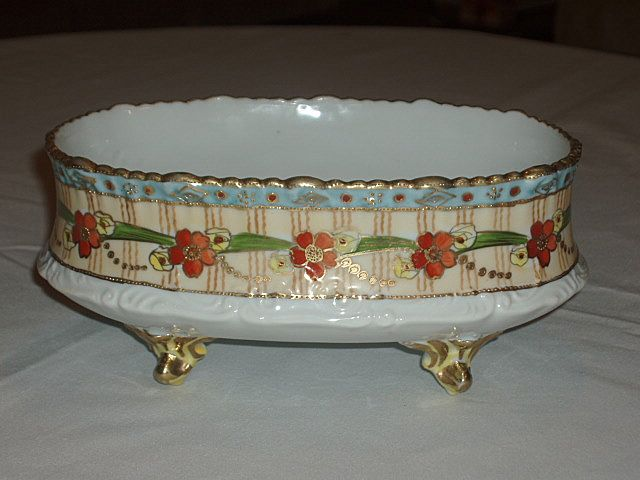 Nippon Hand Painted Footed Dish Heavy Gold Raised/Floral