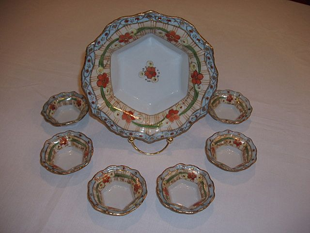 Nippon Hand Painted 7 Pc. Set – Heavy Gold Raised/Floral