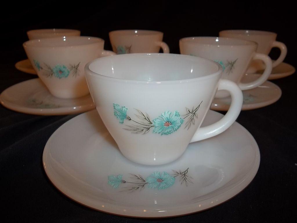 Fire King Bonnie Blue Cup & Saucer Sets – 6 sets available