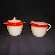 Fire King Sunrise Swirl Sugar w/lid & Creamer Set