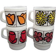 Fire King Pop Floral Mugs-Set of 4 –