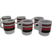 Fire King Stacking Red Black Striped Mug-Lot 6