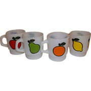 Anchor Hocking Fire King Set Super Fruit Stacking Mugs