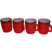 Fire King Red Stacking Mugs –Set of 4