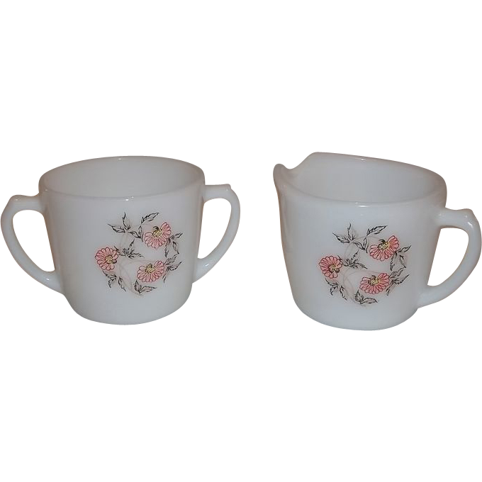 Fire King Fleurette Dinnerware Sugar & Creamer Set