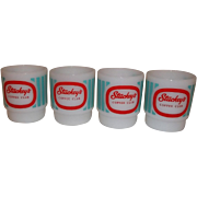20% OFF SALE!  Fire King RARE – 4 Stuckey's Mugs