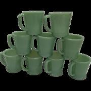 "Fire King Jadeite ""D"" Handle Coffee Mugs"