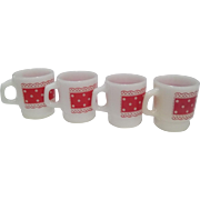 Fire King Stacking Mug Red Lace Polka Dot