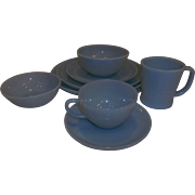 Fire King 8 Piece Turquoise Place Setting