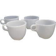 Fire King White St. Denis Cups – Set of 4