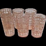 Pink Depression Block Optic Set of 6 Tumblers
