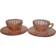 Pink Depression Block Optic Cup & Saucer Sets