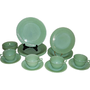 Fire King Jadeite Jane Ray-20 Piece 4 Place Settings