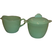 Fire King Jadeite 1940's Jane Ray Creamer & Sugar