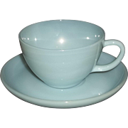 Fire King Turquoise Cup & Saucers – 10 Available